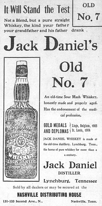 Jack Daniel's - Ad for Old No. 7 from a May 1908 issue of The Nashville Globe