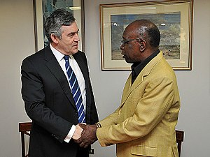 Jack Warner (football executive) - Jack Warner (right) meets then British Prime Minister Gordon Brown in 2009