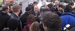 Media scrum - Jack Layton, previous leader of the New Democratic Party of Canada in a scrum in Ottawa in 2006.