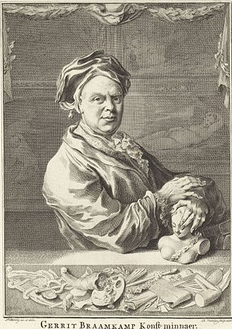 Gerrit Braamcamp - Portrait of Gerrit Braamcamp with items from his collection, 1766 engraving by Jacob Xavery and Reinier Vinkeles