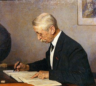 Jacobus Kapteyn - Jacobus Kapteyn on the occasion of his 40th anniversary as professor in Groningen. Sir David Gill in background. Painting by Jan Veth.