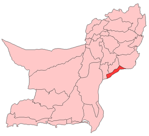 Map of Balochistan with Jafarabad District highlighted