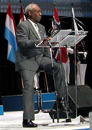 James McEachin - McEachin reads a narrative on the conflict at a Department of Defense salute to the Korean War in 2003.