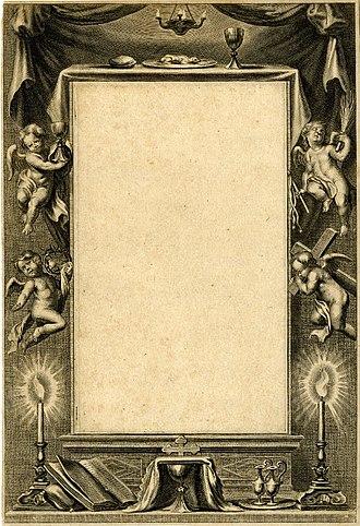 Jan Boeckhorst - Image: Jan Boeckhorst, Cornelis Galle II Decorative border around an empty rectangle, with four putti holding instruments of Christ's Passion