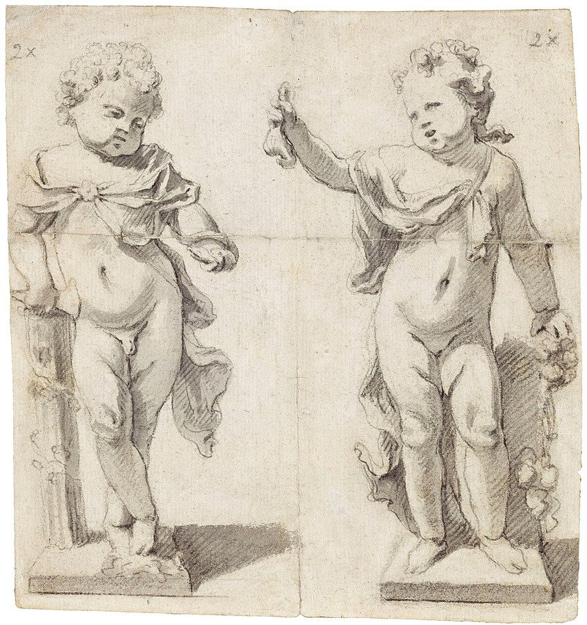 Two designs for statues of standing children