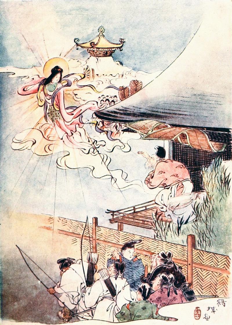 Ilustrasi dalam The Japanese Fairy Book oleh Sazanami Iwaya.