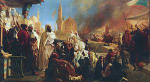 1860 Mount Lebanon civil war - Abdelkader El Djezairi saving Christians during the Druze–Christian strife of 1860, by Jan-Baptist Huysmans
