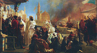 Emir Abdelkader - Abdelkader saving Christians during the Druze/Christian strife of 1860. Painting by Jan-Baptist Huysmans.