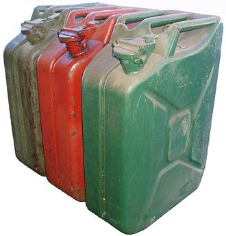 Jerrycan - Jerrycans. The stamped indentations on the sides serve two purposes: firstly to stiffen the side sheet metal; secondly to allow greater surface area for expansion and contraction of the contents with heat and cold. Different colours designate the contents.