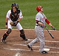 Joey Votto and Matt Wieters on June 25, 2011.jpg