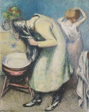 English: Washing Hair - Oil on canvas - 80 x 6...