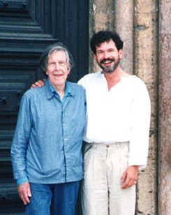 John Cage and Michael Bach in Assissi 1992.jpg