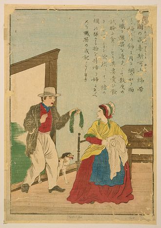 John Heathcoat - Japanese print on hōsho paper showing Heathcoat displaying the first successful result from his knitting machine to his wife.