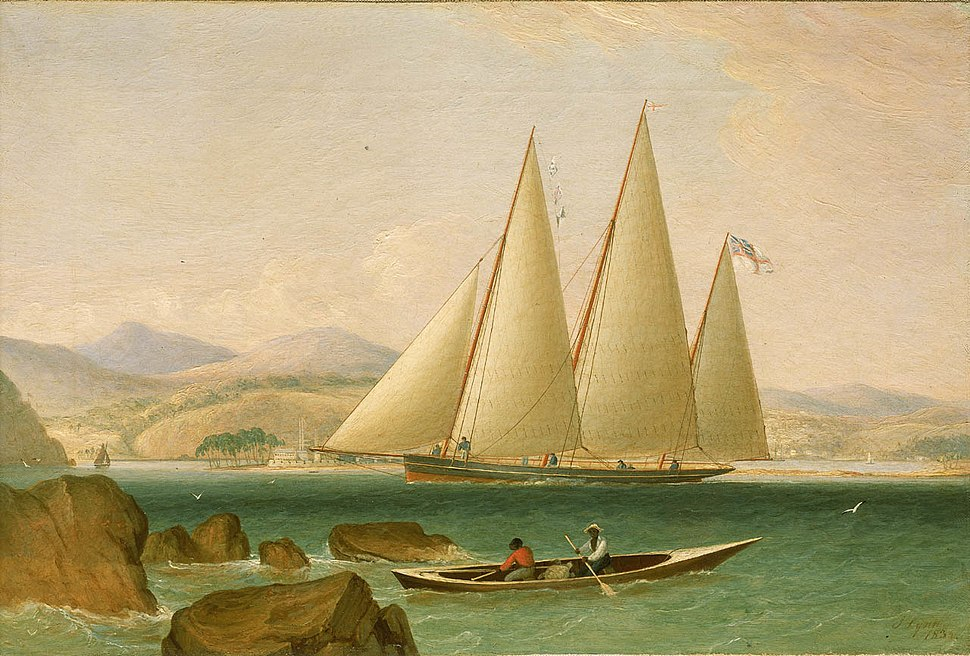 A yacht in the harbour entrance ca. 1834