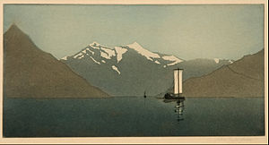 John Taylor Arms - On Lake Como, Number Two, 1919, color etching and aquatint