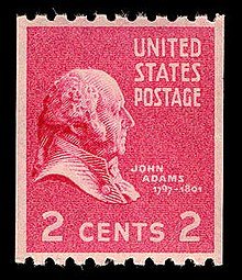 A red postage stamp, depicting an etching of a man facing to the right. The top right corner reads 'UNITED STATES POSTAGE', and' 2 CENTS 2' is printed on the bottom.