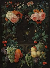 Niche with rummer wine, surrounded by flowers and fruit