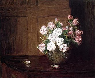 J. Alden Weir - Roses in a Silver Bowl on a Mahogany Table, c. 1890