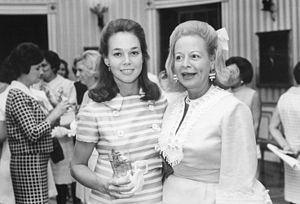 Martha Beall Mitchell - Martha Mitchell (right) with Julie Nixon Eisenhower