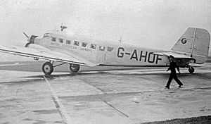 "British European Airways - Junkers Ju 52/3m (""Jupiter"" class) G-AHOF in BEA's early bare metal finish livery at Manchester Ringway on 25 September 1947."