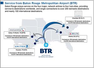 Baton Rouge Metropolitan Airport - Image: KBT Rdestinations 14