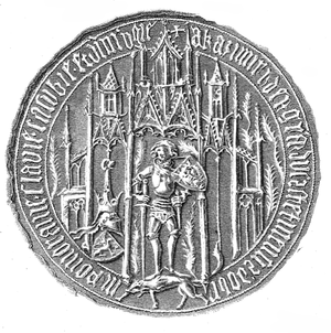 "Casimir IV, Duke of Pomerania - Seal of Casimir, reading ""Kasimir, Dei Gra(tia) Dux Stetinensis, Dobrin, Pomoranie, Slavie, Casubie, Pr(inceps) in Rugie"""