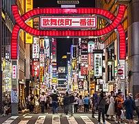 Kabukicho red gate and colorful neon street signs at night, Shinjuku, Tokyo, Japan.jpg