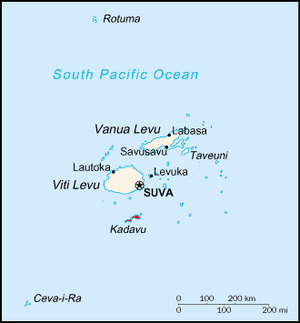 Kadavu Island - Map of Fiji, showing Kadavu (in red) to the south of Viti Levu