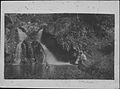 Kaluaikoolau seated on rock, his wife Piilani and son Kaleimanu in mountain pool (PP-19-5-021).jpg
