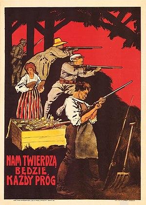 """Anti-Bolshevik propaganda - """"Nam twierdzą będzie każdy próg."""" English: Every doorsill shall be a fortress."""