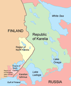 The Regions of North and South Karelia lie in Finland and the Karelian Republic in Russia. The Karelian Isthmus is now part of Leningrad Oblast