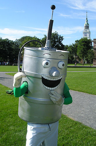 Keggy the Keg - Keggy posing on the Dartmouth College Green with Baker Memorial Library in the background.
