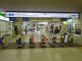 Keisei-Takasago Station - Image: Keisei Takasago Sta Gate for Main Line