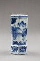 Kinesisk sexsidig penselburk i porslin med blå dekor, gjord cirka 1662-1722 - Hallwylska museet - 95603.tif