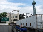 Kings Island Backlot Stunt Coaster blue train launching.jpg