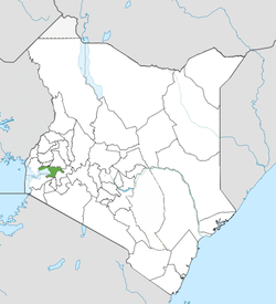 Location of Kisumu County (Green).