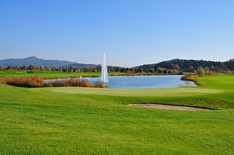 Golf course - Fountain pond at Seltenheim Golf Course Klagenfurt-Seltenheim, Austria