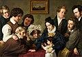 Kollektivarbeit von Eduard Bendemann, Theodor Hildebrandt, Julius Hübner, Wilhelm von Schadow, und Karl Ferdinand Sohn. Der Schadow-Kreis (Die Familie Bendemann und ihre Freunde), (1830-31).jpg