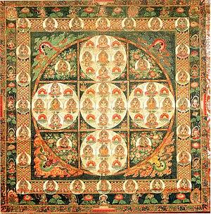 Five Tathagatas - Vajradhatu Mandala composed of 81 buddhas, Japan, Kamakura period