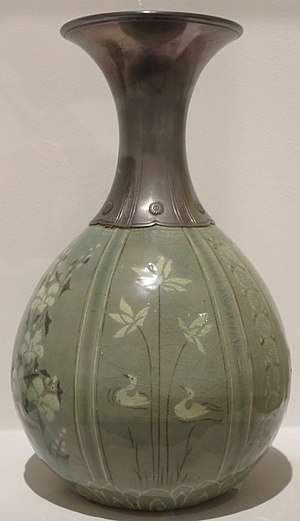 Goryeo ware - Goryeo celadon that uses Inlay technique. Several colors and patterns are shown.