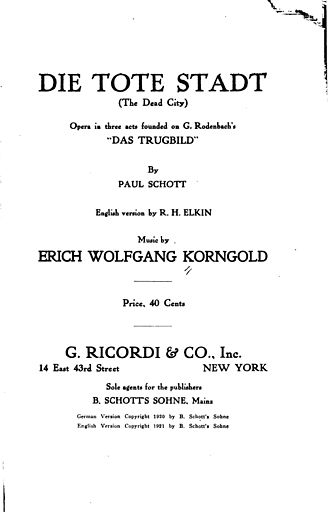 Die tote Stadt - Libretto cover published in 1921
