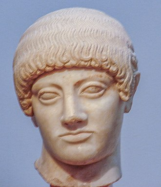 Ephebos - Blond Kouros's Head of the Acropolis museum in Athens.