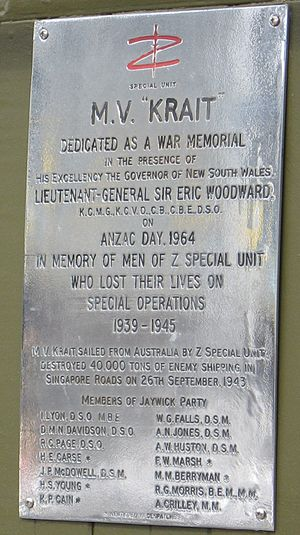 Operation Jaywick - On ANZAC Day 1964 the MV Krait was dedicated a War Memorial; this plaque was affixed to its wheelhouse.