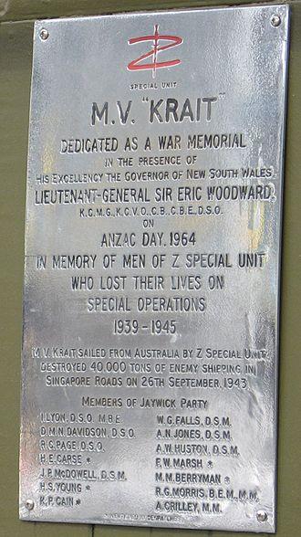 MV Krait - Image: Krait plaque