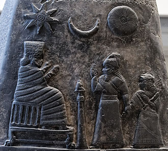 Ishtar - Depiction of the emblems of Ishtar (Venus), Sin (Moon), and Shamash (Sun)  on a boundary stone of Meli-Shipak II (12th century BCE).