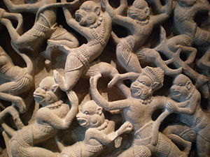 Detail of a sandstone relief depicting Kumbhak...