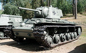 Kliment Voroshilov tank - KV-1 produced in 1942, displayed in Finnish Tank Museum in Parola.