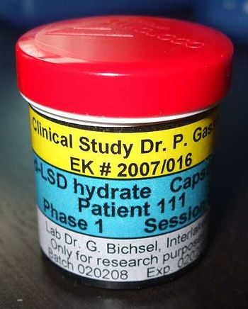 English: A bottle of LSD from a Swiss clinical...