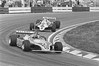 Ligier JS17 - Laffite in the JS17 leading Carlos Reutemann at the 1981 Dutch Grand Prix