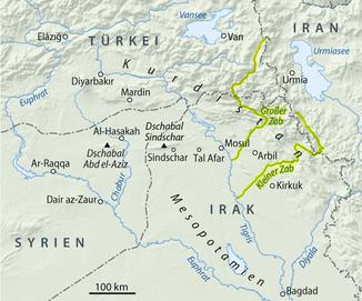 Расположение Großer Zab и Kleiner Zab в речной системе Шатт-эль-Араб